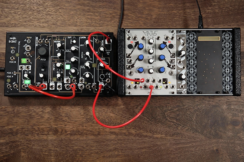 Make Noise 0-Coast and a small skiff including the Maths and Electrosmith 2144 filter.
