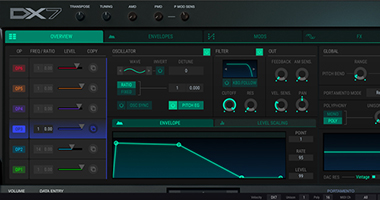 The tactile interface of Arturia's DX7 V plugin