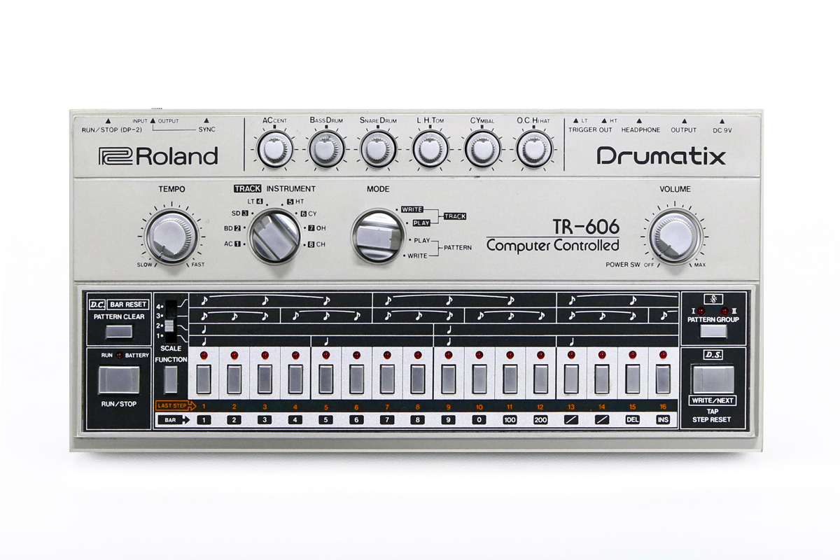 A top-down view of the Roland TR606, an overlooked classic from the 80's