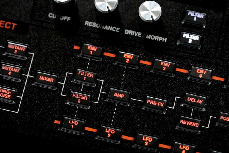 Detail of the Hydrasynth's Module Select buttons—invaluable for navigating the modulation matrix.