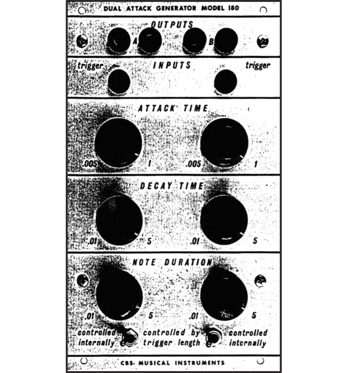 The 180 Dual Attack Generator, from the original CBS Musical Instruments Buchla catalog.