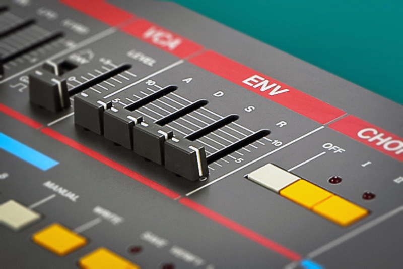 Detail of the ADSR on Roland's Juno 106.
