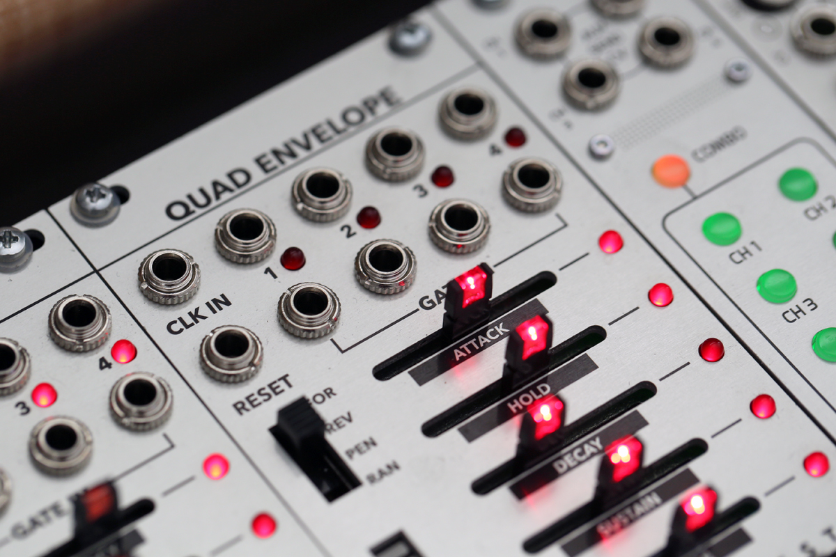 Detail of Malekko's Quad Envelope Eurorack module.