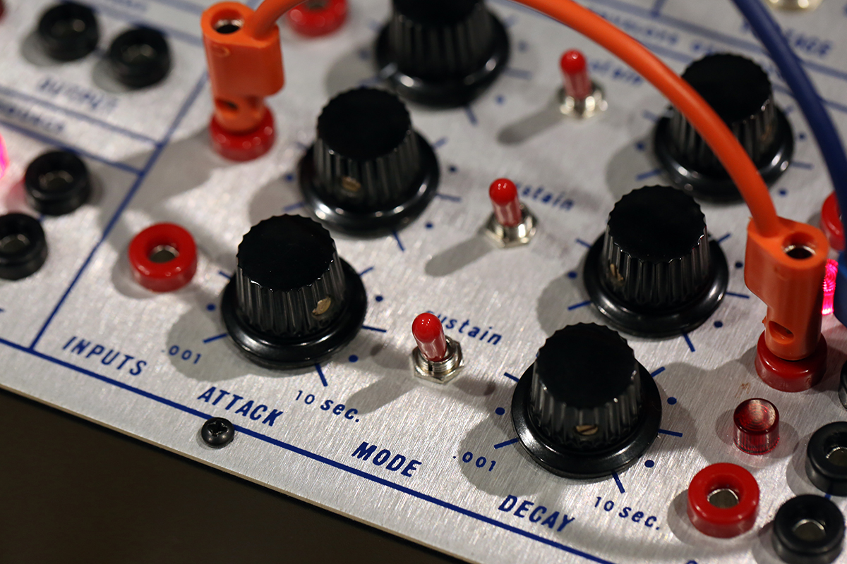 Detail of the triple envelope section from a modern reinterpretation of the Buchla 212 Dodecamodule.