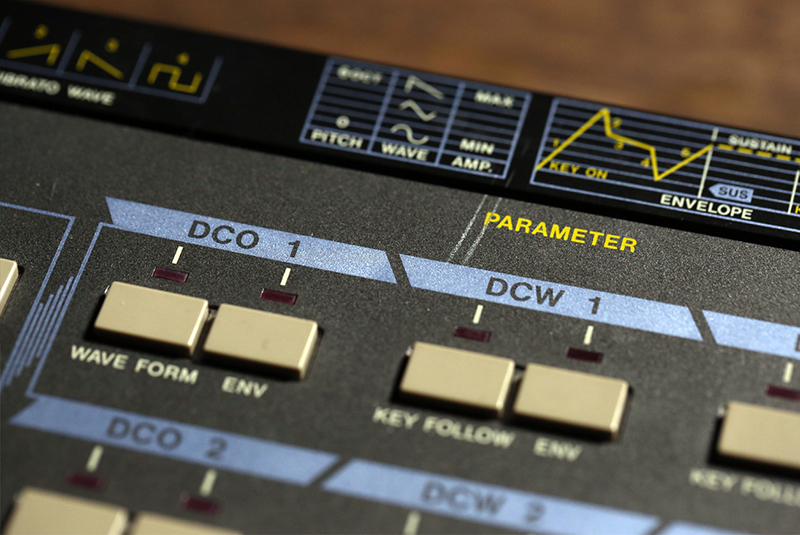 Front panel of the Casio CZ-101, compelte with envelope detail diagram.