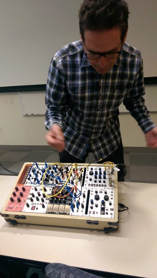 Tom Erbe with his own Eurorack system