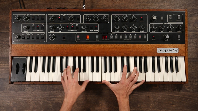 Sequential Circuits Prophet-5: the first commercial instrument with an integrated microprocessor.