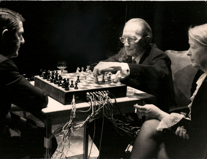 Duchamp and Cage performing