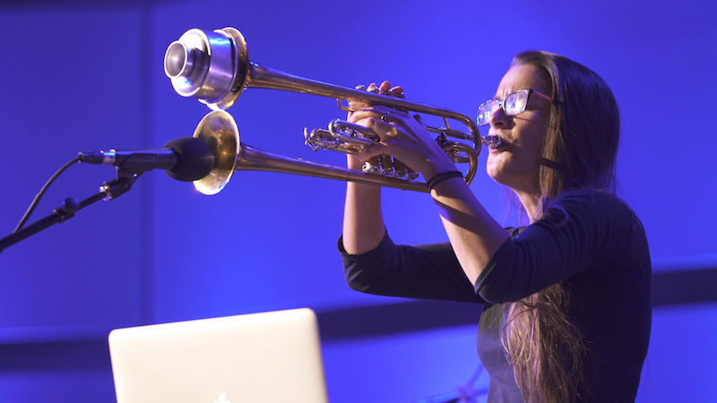 Sarah Belle Reid performing with a custom double-bell quarter tone trumpet