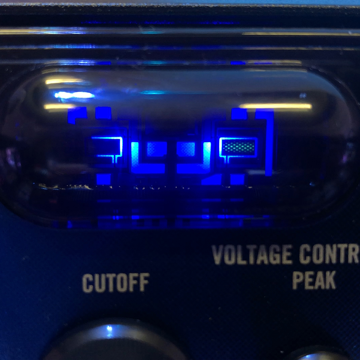 Detail of the Nubass's Nutube VFD-based distortion tube.