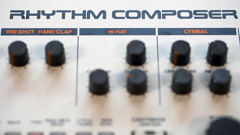 Rhythm Composer badge on the Roland TR-909