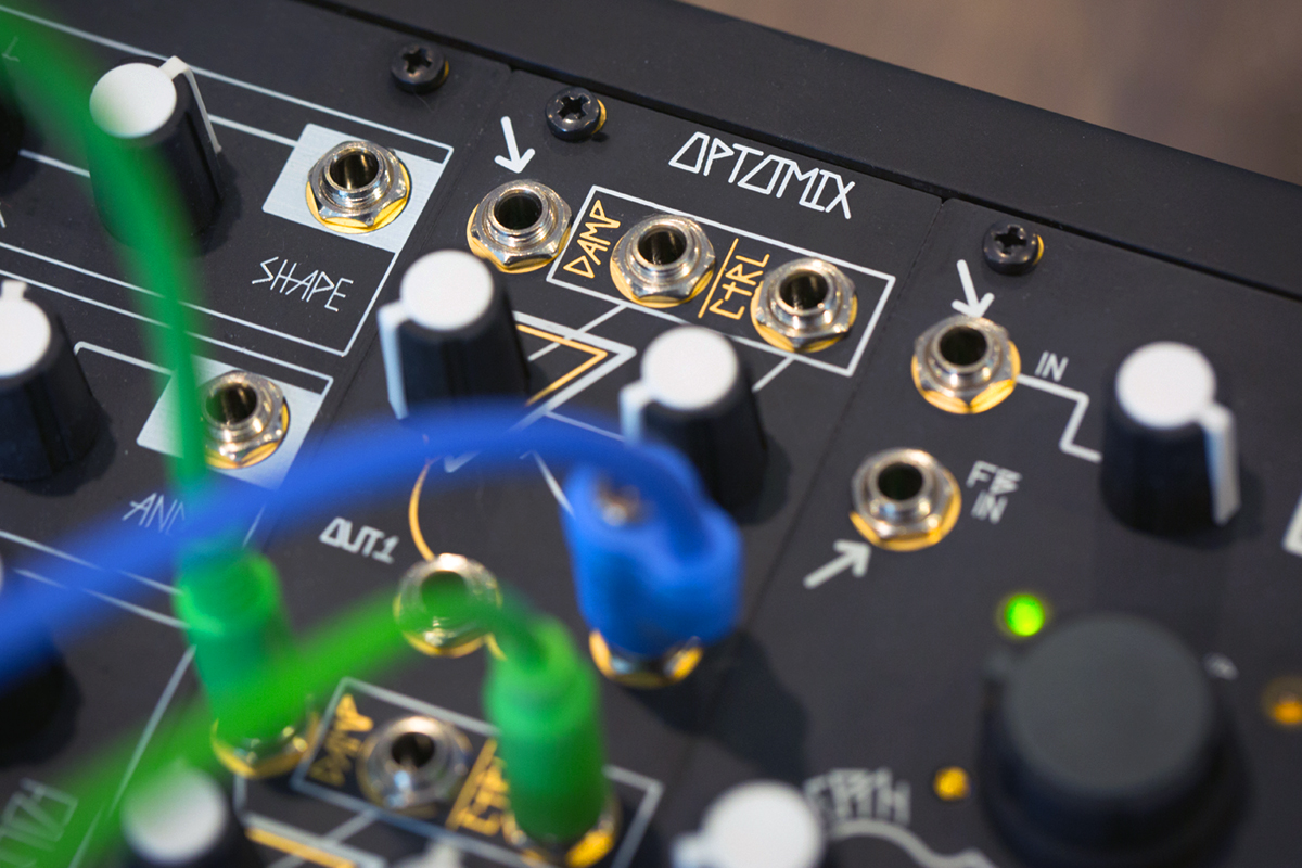 The Black & Gold Optomix, a Eurorack Lowpass Gate inspired by the Buchla 292.